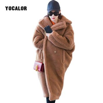 YOCALOR New Teddy Coat Fur Coats For Women Cocoon Thick Warm Long Winter Faux Lamb Fur Coat Female Outerwear Fourrure Femme