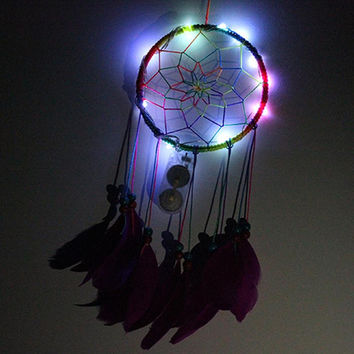 Lantern Light-emitting Stainless Steel Dream Catcher Home Car Decoration Ornaments Feather Pendant