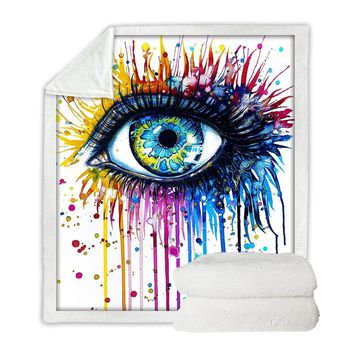 Rainbow Fire by Pixie Cold - Watercolor Eye Throw Blanket