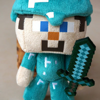 "Minecraft Diamond Steve plush stuffed toy doll 7 Inches 1PCS ""Great Quality"" ""In Stock Same Day Shipping"""