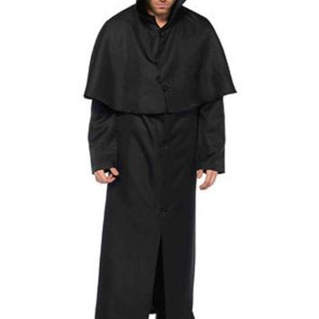 VONE5FW Hooded button front cloak in BLACK