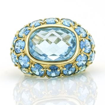 Blue Topaz 14k Yellow Gold Dome Ring