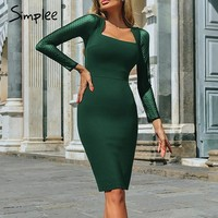 Simplee Sexy bodycon lace women dress Elegant mesh long sleeve female party dress Plus size vintage spring solid vestidos 2019