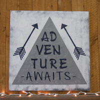 Teepee And Arrow Nursery Decor Boys Nursery Tribal Nursery Woodlands Nursery Navy And Gray Nursery Adventure Awaits Wood Sign Baby Gift
