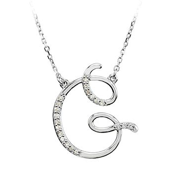 1/10 Ctw Diamond 14k White Gold Medium Script Initial G Necklace, 17in