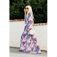 Suzy Floral Maxi Dress (Navy/Pink Multi)