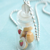 strawberry cupcakes in a jar necklace