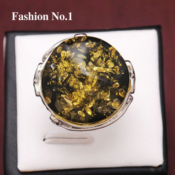 Green 8 Free shippingNew Design Fashion women Jewelry Silver Plated Vintage Green Amber Stone Rings For Women Crystal Jewelry