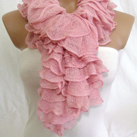 Ruffle Scarf, Frilly Scarf, Knitted Ruffled Scarf (Pink), Christmas,gift by Arzu's Style