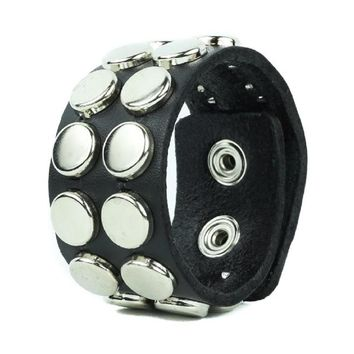 "2 Row Silver Round Flat Studded Black Leather Wristband Cuff Bracelet 1-1/4"" Wide"