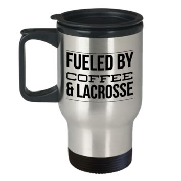 Lacrosse Travel Mug - Fueled by Coffee & Lacrosse Stainless Steel Insulated Travel Coffee Cup with Lid
