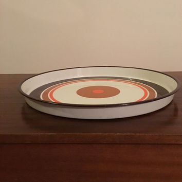 Vintage 1970s Modern Mod Bullseye Metal Drinks Tray / Retro Serving Tray / Great Condition Man Cave Bar Serving Tray
