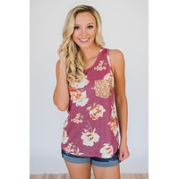 I'm All Yours Floral Glam Pocket Tank Top- Berry