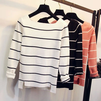Strip Sweater Black and white Orange and white