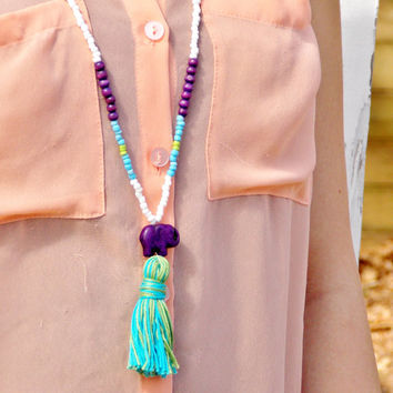 Mala Beads Tassel Necklace: Ocean Blue and Bright Green Tassel, Dark Purple Elephant
