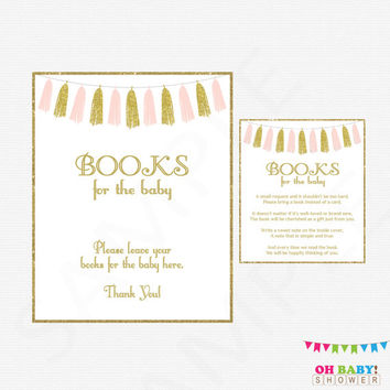 Pink and Gold Baby Shower, Bring a Book Instead of a Card Insert AND Sign, Book Request, Books for the baby shower, Pink Gold Tassels, TASPG