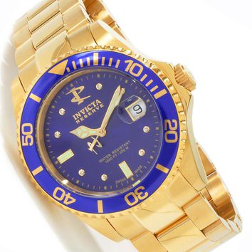 Invicta 6867 Men's Swiss Reserve 500 Meter WR Gold Plated Blue Face Dive Watch