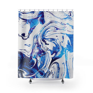 Azure Dragon Marble  Shower Curtains