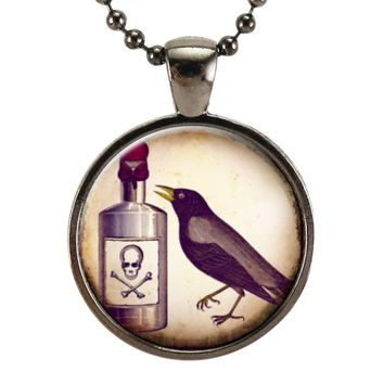 Raven & Poison Halloween Necklace, Gothic Crow Jewelry, Goth Poison Pendant