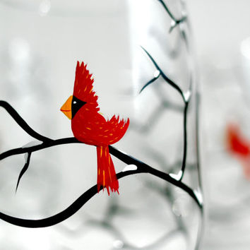 Red Christmas Cardinal Stemless Wine Glasses - Set of 2 Hand Painted Christmas Glasses