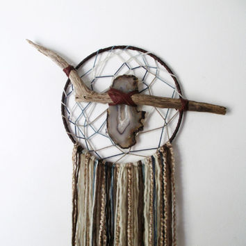 Crystal Visions Dreamcatcher // Driftwood & Agate Stone Textile Wall Art.