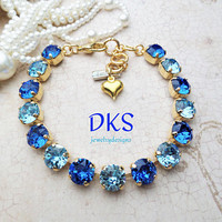 Swarovski Crystal 8mm Bracelet, Bridal, Formal, Adjustable, Blue, Bridal Party Gifts, DKSJewelrydesigns, FREE SHIPPING