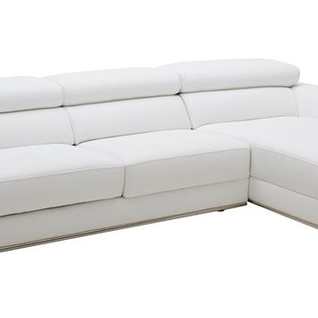 Divani Casa Chrysanthemum Mini - Modern White Leather Sectional Sofa