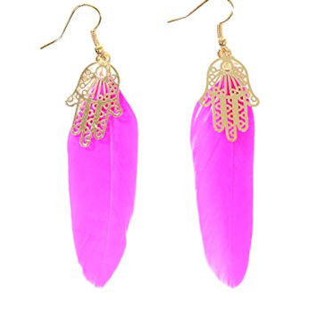 Hamsa Feather Earrings Neon Fuschia Pink Plume Gold Tone Hand EG53 Fashion Jewelry