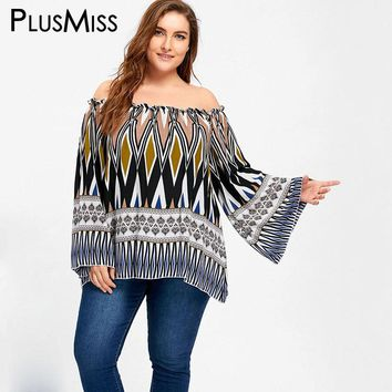 Plus Size 5XL Off the Shoulder Bell Flare Sleeve Ethnic Chiffon Blouse Shirt Women Long Sleeve Loose Tops Large Size Blusas