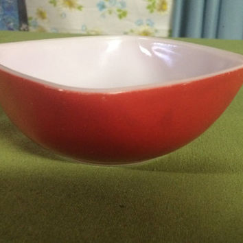 Vintage 1950's Red Square 12 Ounce Pyrex Hostess Bowl #410