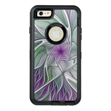 Flower Dream, Abstract Purple Green Fractal Art OtterBox Defender iPhone Case