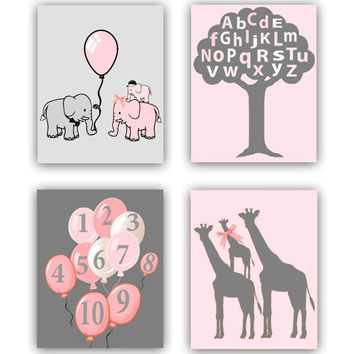 Nursery Art Prints, Baby Nursery Decor, Elephant, Giraffe, Balloons, Alphabet, Numbers, Nursery Tree, Kids Decor, SET OF 4 Nursery Prints