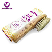 #1 Lil Touch Baby Hair Brush - 100 % Natural Organic Goat Hair, Soft Fine Bristles, Eco Friendly Wooden Handle - Best For Newborns, 1 Year Olds, Cradle Cap ~ Satisfaction Gauranteed