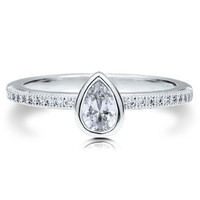 Sterling Silver 925 Pear Cut Bezel Cubic Zirconia CZ Solitaire Ring #r524
