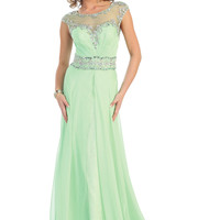 Prom Floor Length Bridesmaid Cap Sleeve Sequins Sheer Mesh Chiffon Formal Dress
