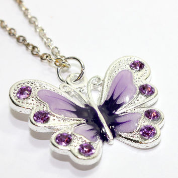 Purple Butterfly Pendant. Enameled Butterfly Charm. Large Butterfly Necklace with Silver Chain. Purple Insect Jewelry. Silver Butterfly