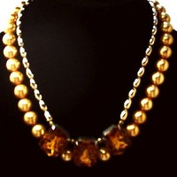 "Orange Glass Pearl Beaded Bib Necklace 2 Strands Rhinestones 17"" Vintage"