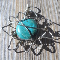 Wrapped Silver Wire Turquoise Sun Pendant | pavlos - Jewelry on ArtFire