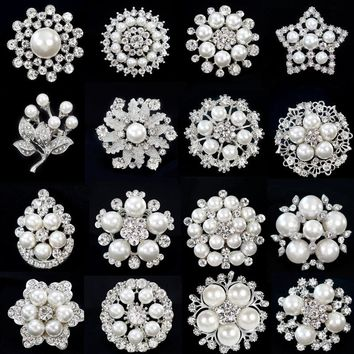 Fashion Women Large Brooches Lady Snowflake Imitation Pearls Silver Rhinestones Crystal Wedding Brooch Pin Jewelry Accessorise