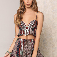 Multi Print Lace Up Ruffle Crop Top