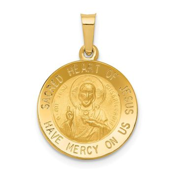 14K Yellow Gold Polished and Satin Sacred Heart of Jesus Medal Pendant