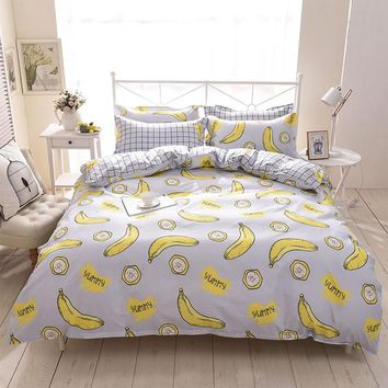 Cartoon fruit banana bedding set kids teen childs plaid full queen king double home textiles flat sheet pillow case quilt cover