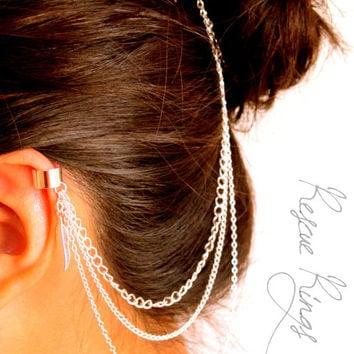 Feather Ear Cuff Hair Comb
