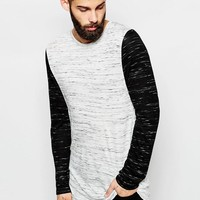 ASOS | ASOS Longline Long Sleeve T-Shirt With 2 Tone Slub Jersey at ASOS