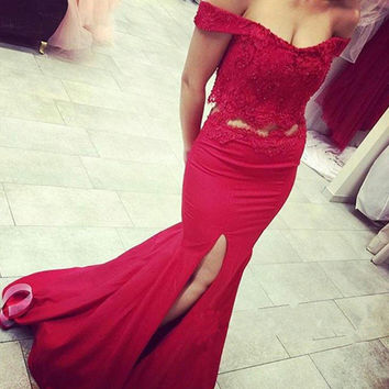 Off Shoulder Red Mermaid Split Long Prom Dresses