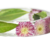 Real Flower Jewelry- Flower Jewelry- Jewelry with Real Flowers-Pink Flowers- Green Bracelet-Resin Jewelry-Pink Bracelet