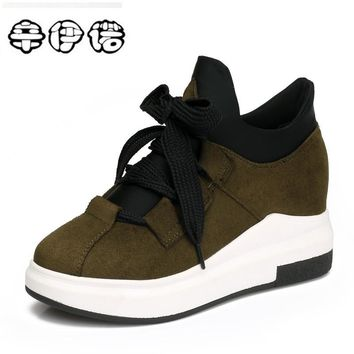Women Wedges Shoes High Top Sneaker Women Casual Shoes Female Height Increasing Platform Women Brand Shoes Big Size 33-43