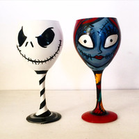 Jack Skellington and Sally wine glass set - Nightmare before christmas - 20 oz
