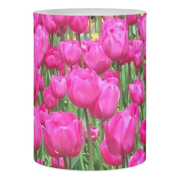 Pink Tulips Floral Photo Flameless Candle