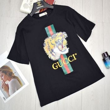 GUCCI Spring Summer Women Tiger Letter Print Cotton Loose T-Shirt Top Black